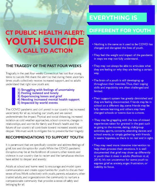 Connecticut Public Health Alert: Youth Suicide